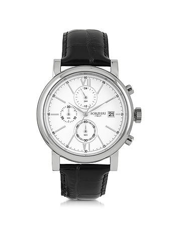 Baviera Silver Tone Stainless Steel Case and Black Embossed Leather Men's Chrono Watch