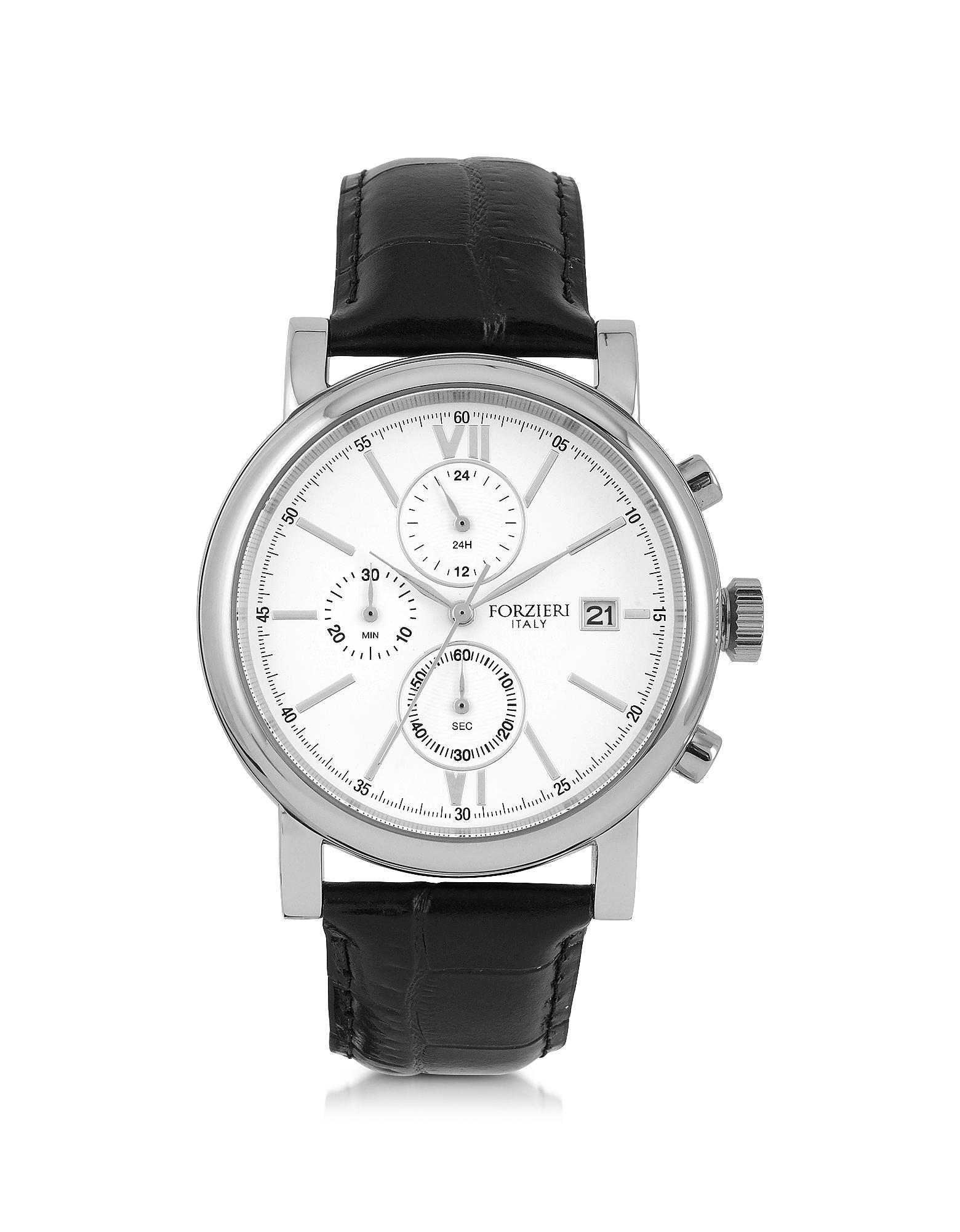 Baviera - Серебристые Мужские Часы Хронограф из Нержавеющей Стали с Черным Тисненым Ремешком из Кожи