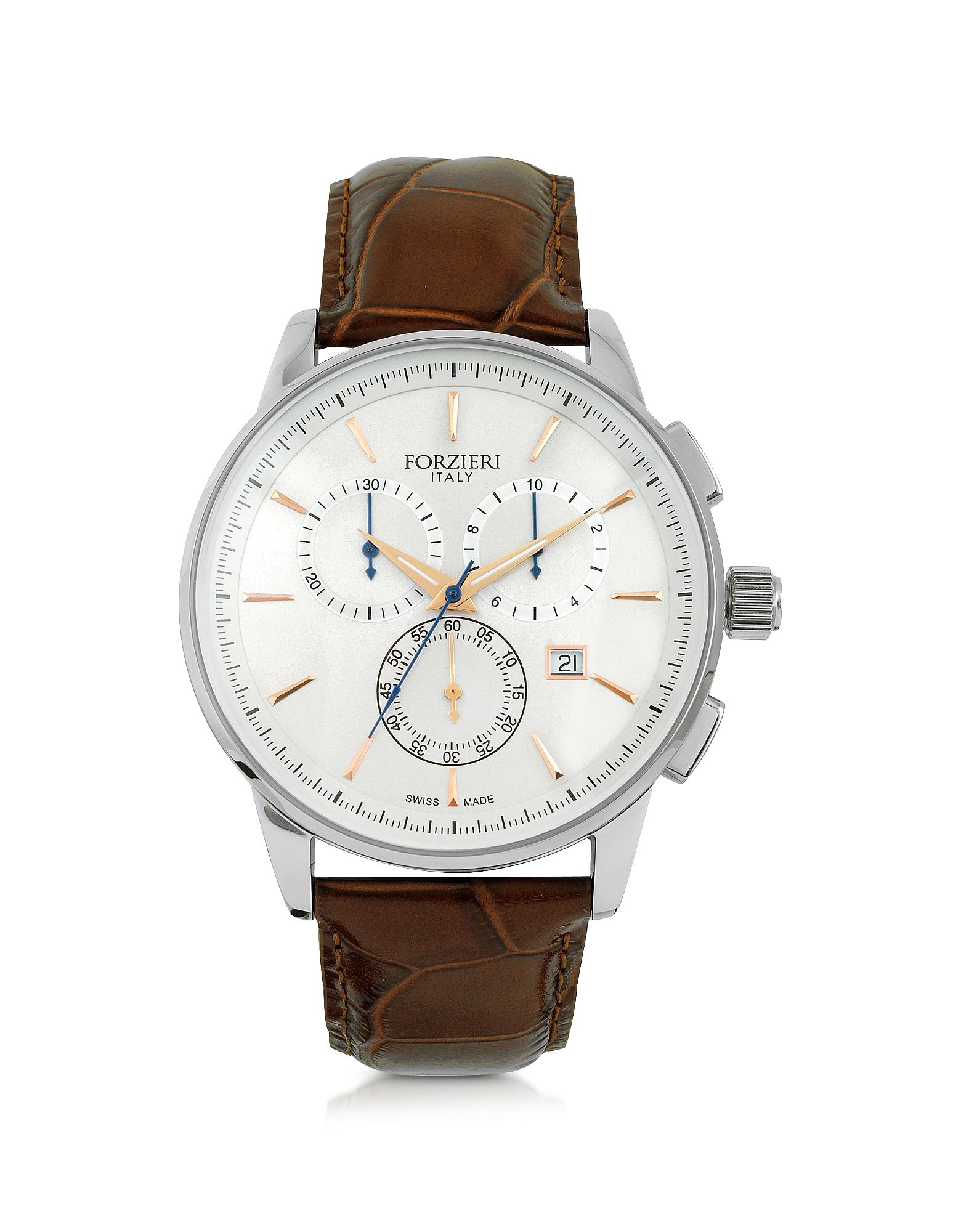 Viareggio - Серебристые Мужские Часы Хронограф из Нержавеющей Стали с Коричневым Тисненым Кожаным Ремешком