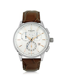 Viareggio Silver Tone Stainless Steel Case and Brown Embossed Leather Men's Chrono Watch - Forzieri