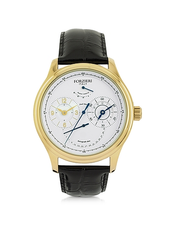 Portofino Gold Tone Stainless Steel Case and Black Embossed Leather Men's Automatic Watch