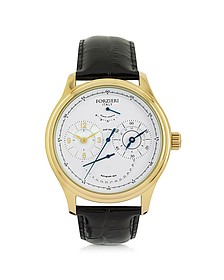Portofino Gold Tone Stainless Steel Case and Black Embossed Leather Men's Automatic Watch - Forzieri