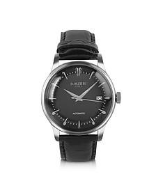 Savona - Black Croc-Embossed Automatic Watch - Forzieri