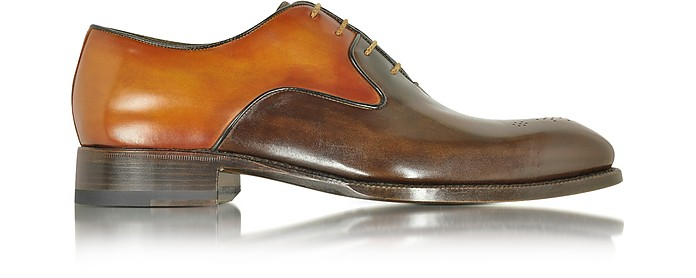 Two-Tone Italian Handcrafted Leather Oxford Shoe - Forzieri