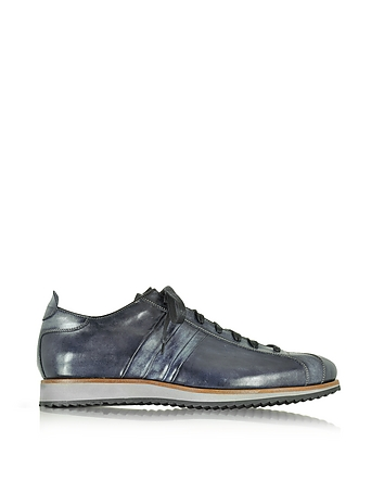 Italian Handcrafted Black/Blue Washed Leather Sneaker