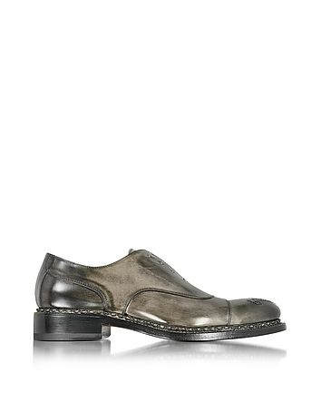Forzieri - Italian Handcrafted Black/Gray Washed Leather Oxford Shoe