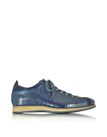 Italian Handcrafted Indigo Blue Suede & Croco Print Leather Sneaker