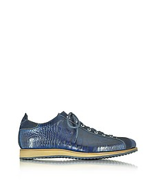Italian Handcrafted Indigo Blue Suede & Croco Print Leather Sneaker - Forzieri