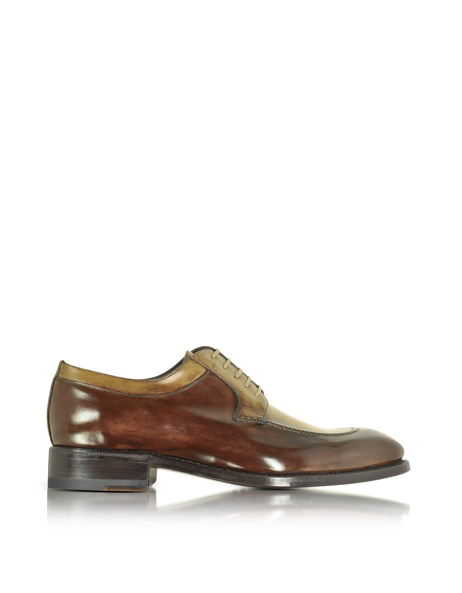 Forzieri Shoes, Italian Handcrafted Two Tone Leather Derby Shoe