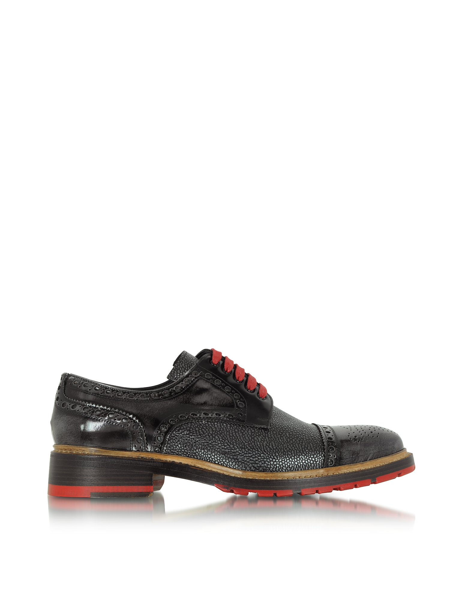 Forzieri Shoes, Italian Handcrafted Smoke Black and Graphite Leather Derby Shoe