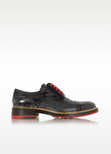 Italian Handcrafted Smoke Black and Graphite Leather Derby Shoe - Forzieri
