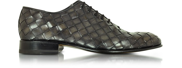 Italian Handcrafted Cinder Woven Leather Oxford Shoe - Forzieri