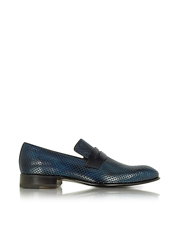 Forzieri - Italian Handcrafted Ocean Blue Perforated Leather Loafer Shoe