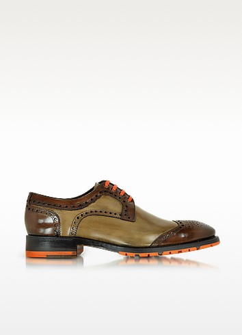 Italian Handcrafted Chestnut and Light Brown Leather Oxford Shoe - Forzieri