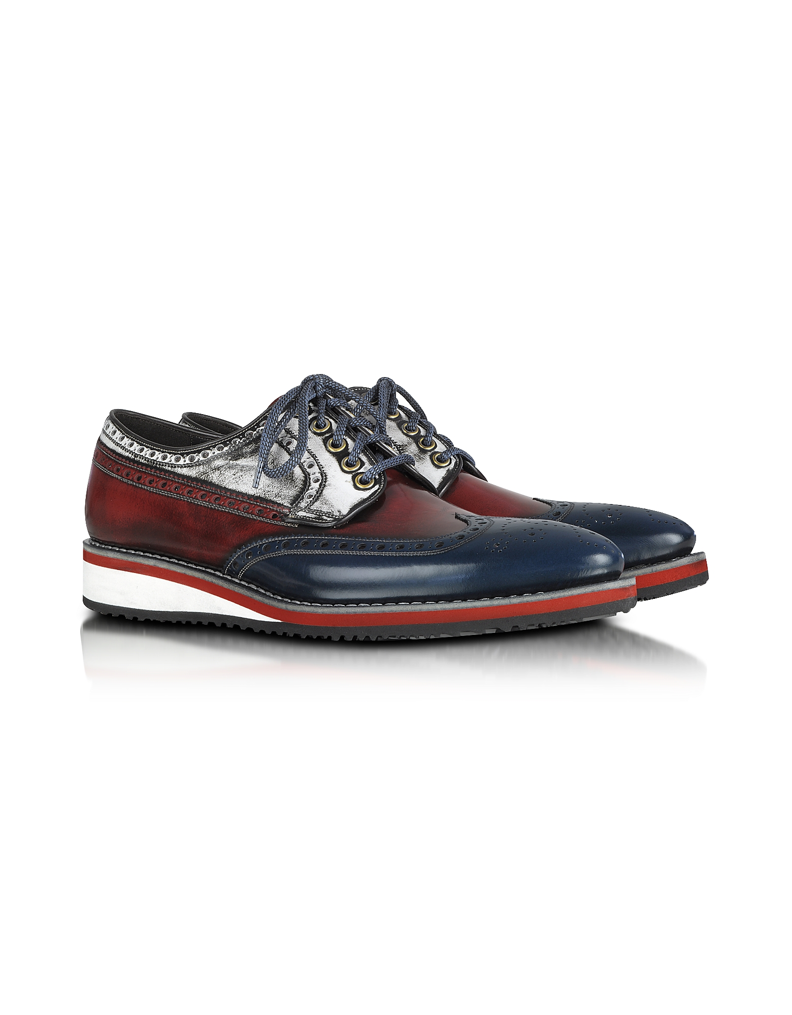 Forzieri Shoes, Red, White and Blue Leather Wingtip Derby Shoes