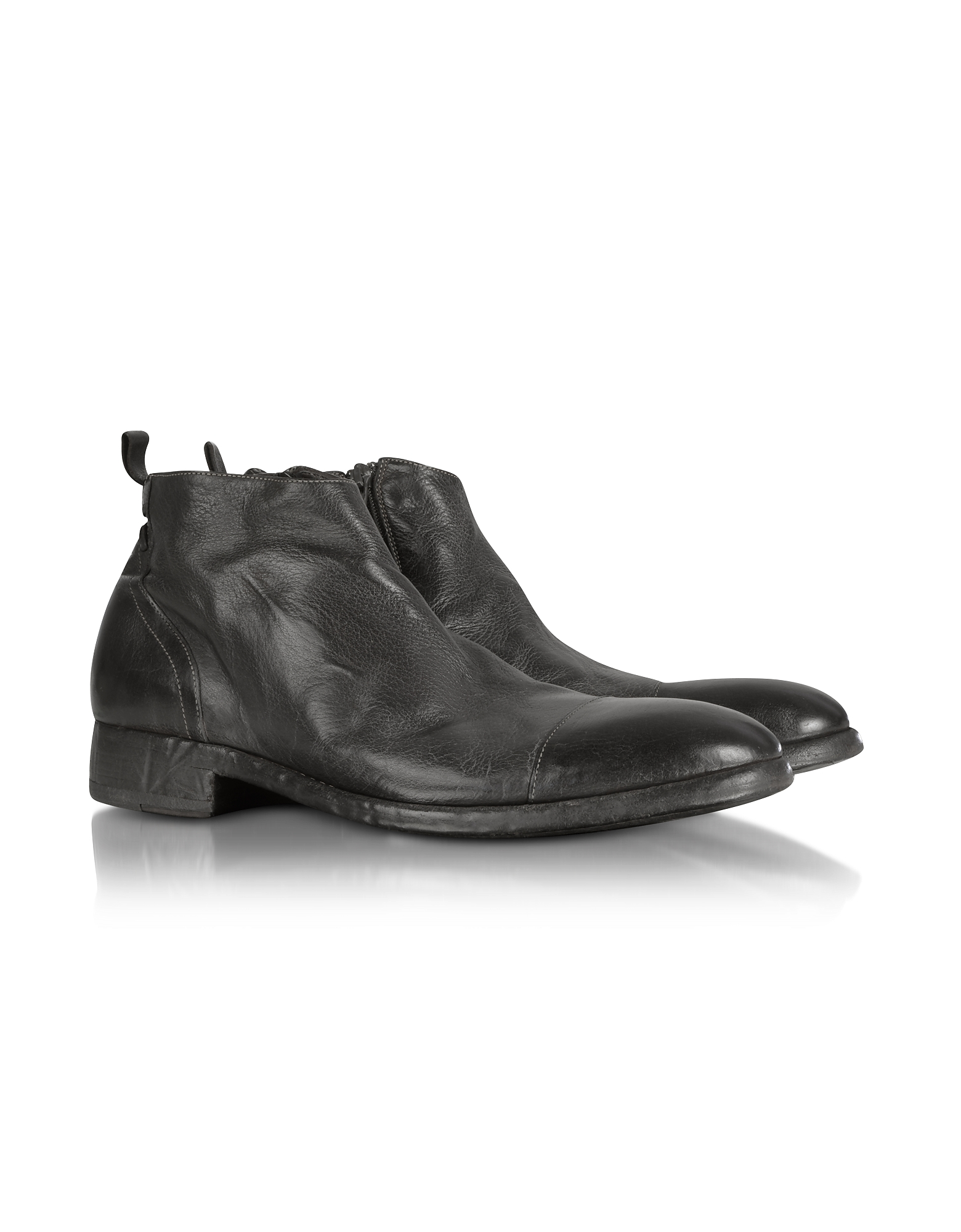 Forzieri Shoes, Ebony Washed Leather Boots