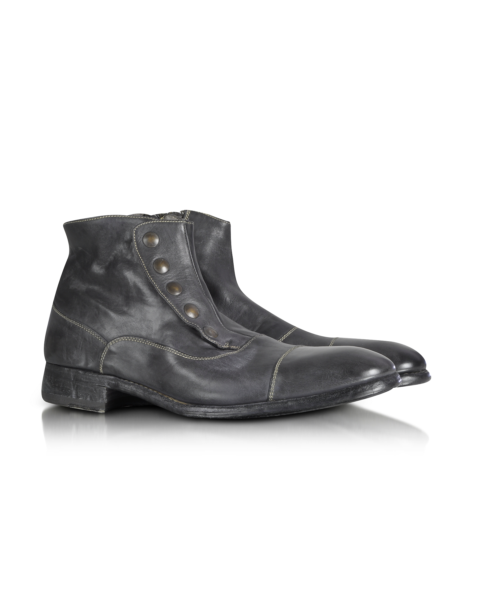 Forzieri Shoes, Smoke Grey Washed Leather Boots