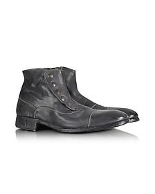 Smoke Grey Washed Leather Boots - Forzieri