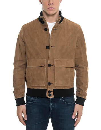 Forzieri - Brown Suede Men's Bomber Jacket