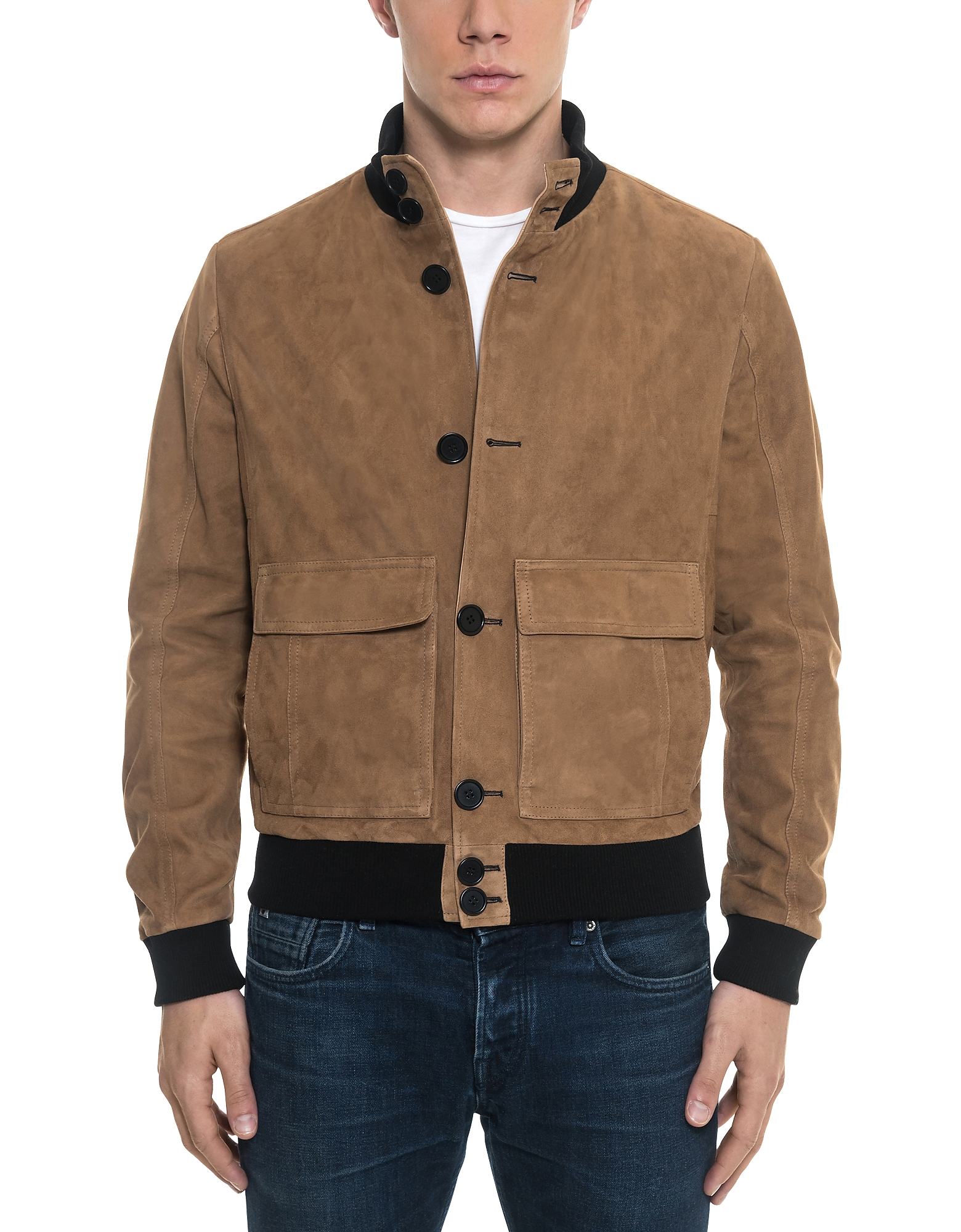 Brown Suede Men's Bomber Jacket