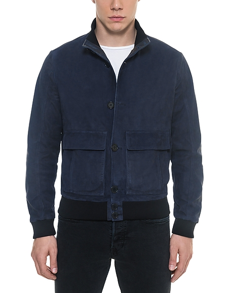 Forzieri Midnight Blue Suede Mens Bomber Jacket