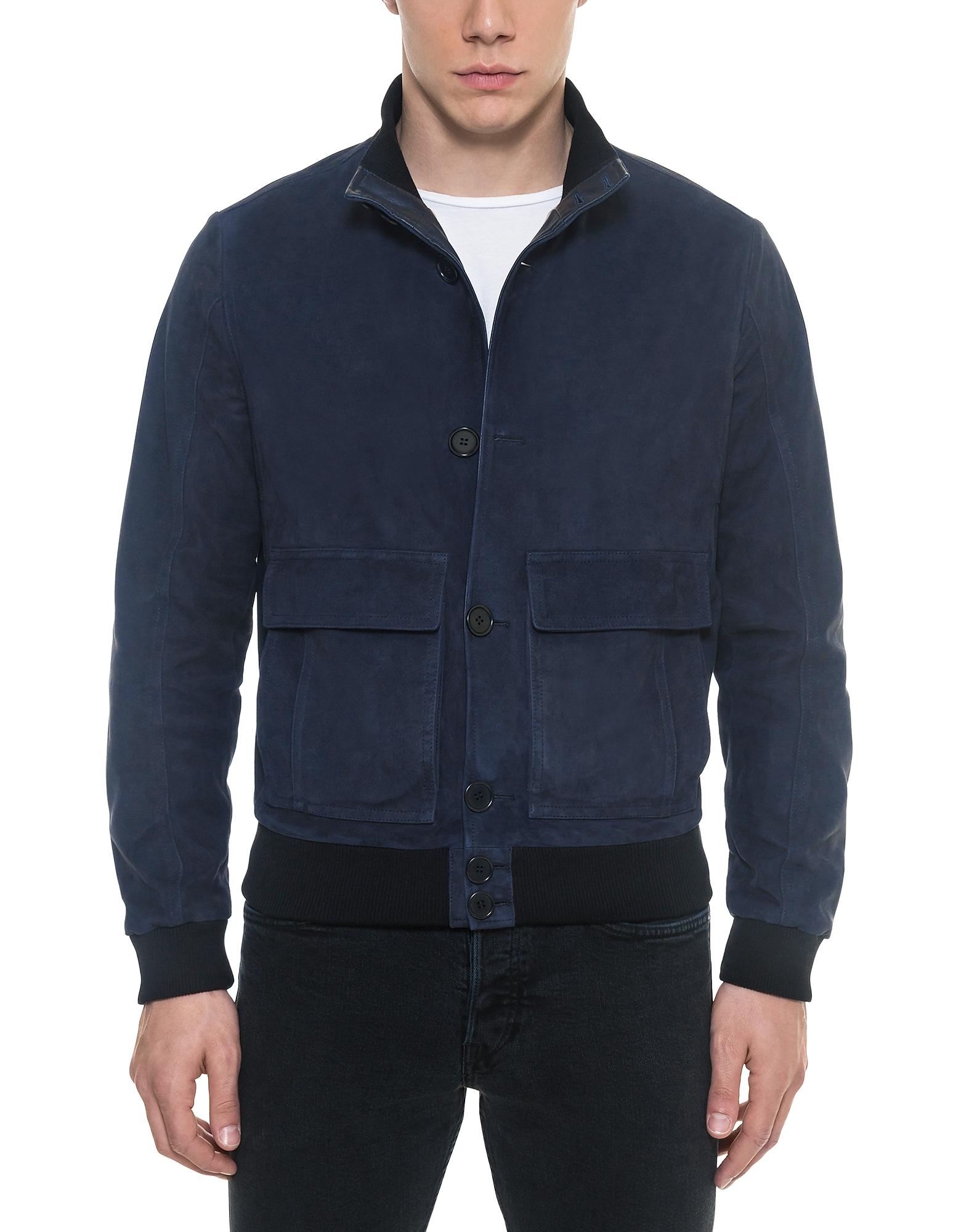 Image of Forzieri Designer Leather Jackets, Midnight Blue Suede Men's Bomber Jacket