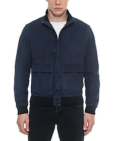 Midnight Blue Suede Men's Bomber Jacket - Forzieri