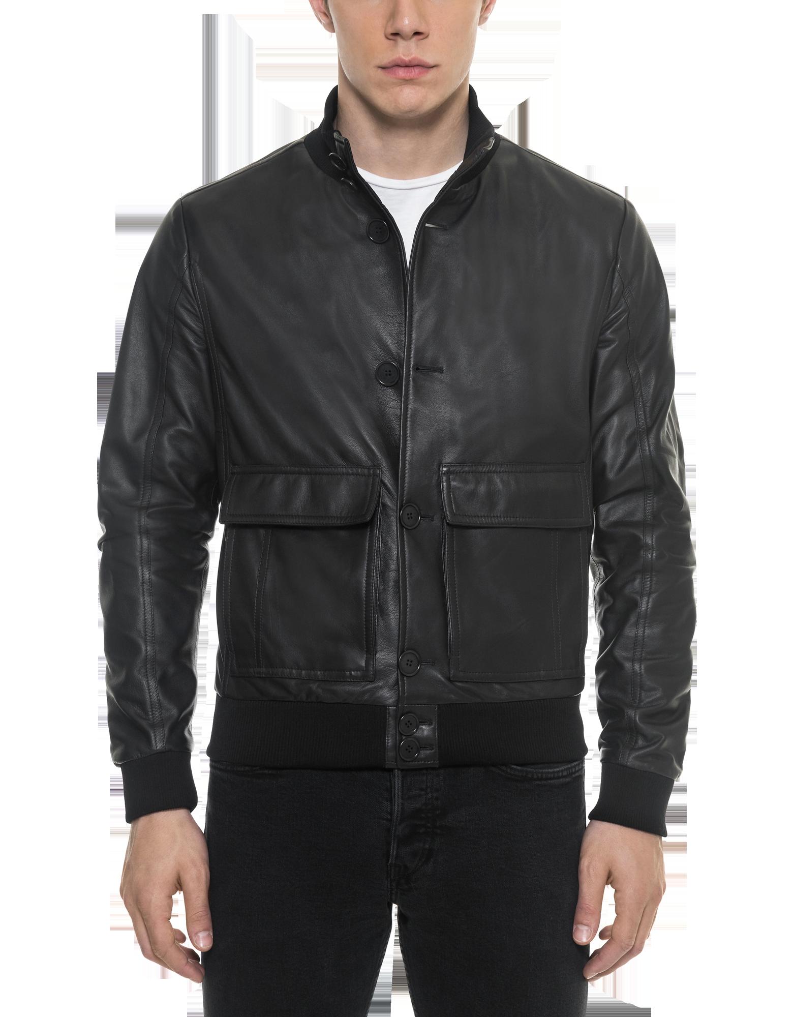 Image of Black Leather Men's Bomber Jacket