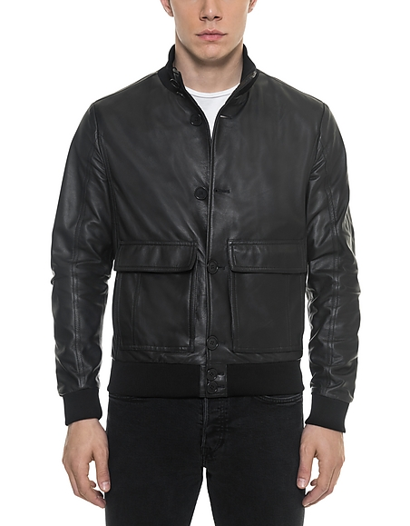 Forzieri Black Leather Mens Bomber Jacket