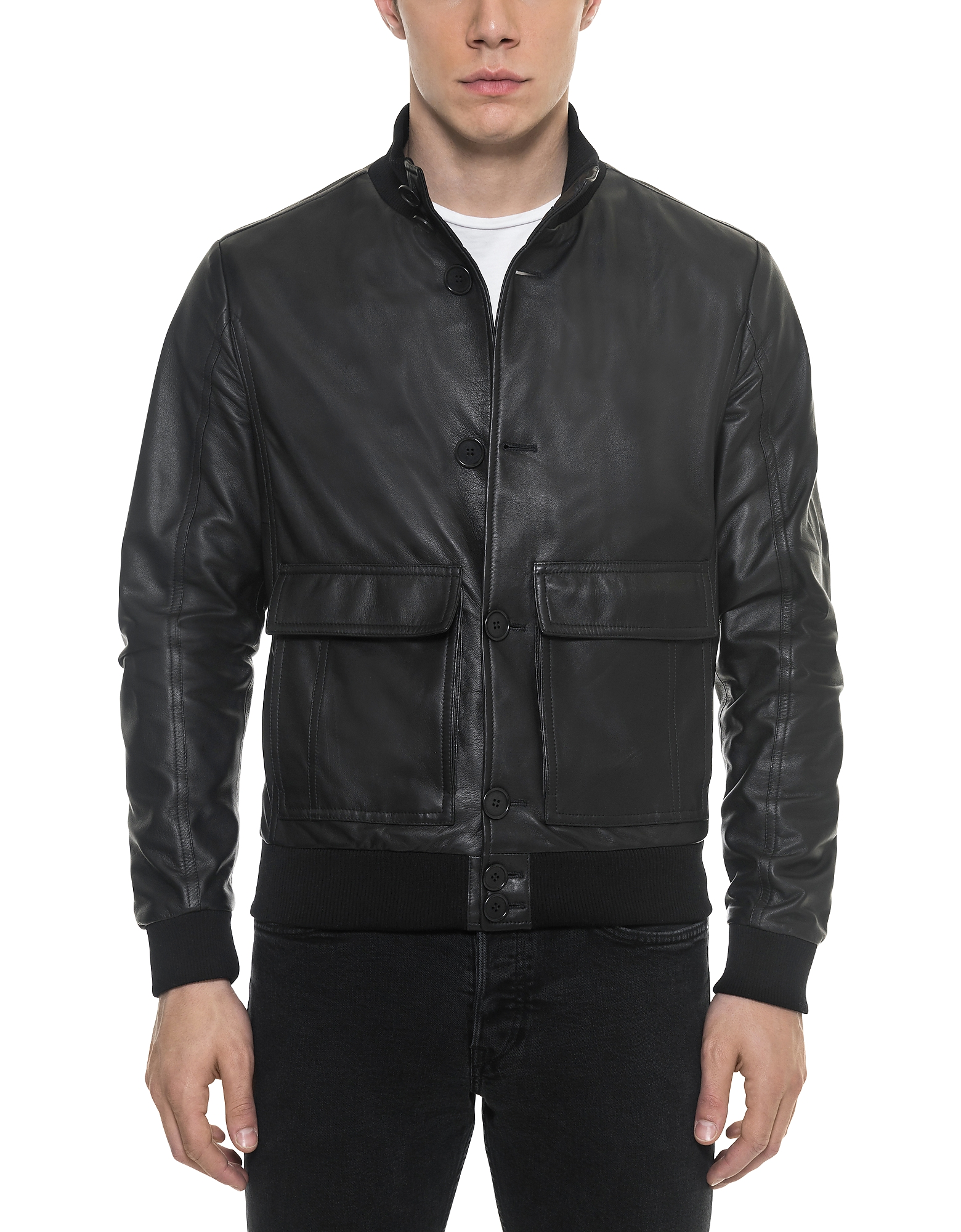 Image of Forzieri Designer Leather Jackets, Black Leather Men's Bomber Jacket