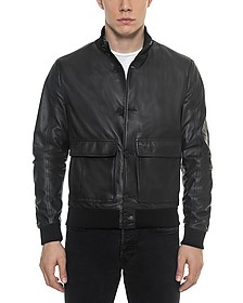 Black Leather Men's Bomber Jacket - Forzieri