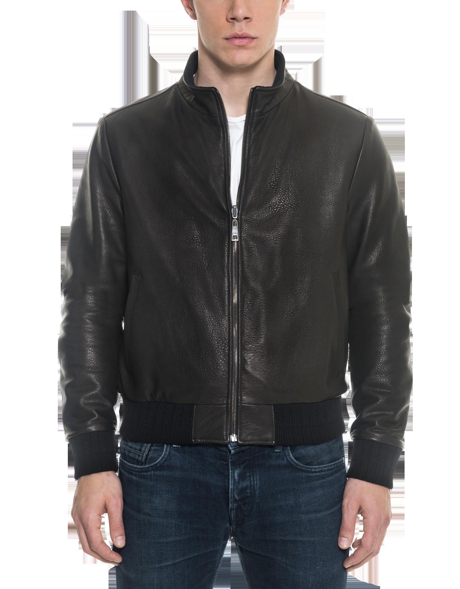 Image of Black Leather and Nylon Men's Reversible Jacket