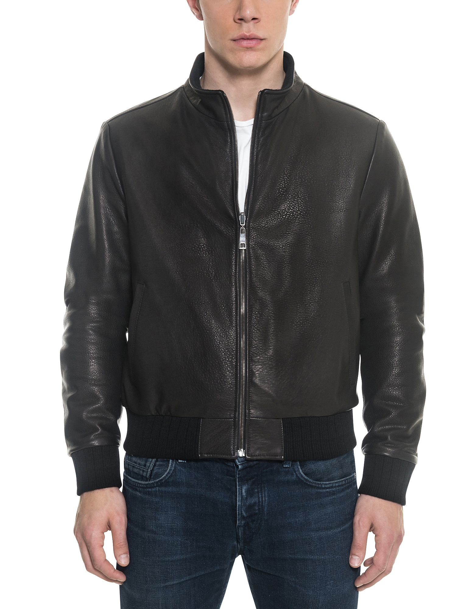 Image of Forzieri Designer Leather Jackets, Black Leather and Nylon Men's Reversible Jacket