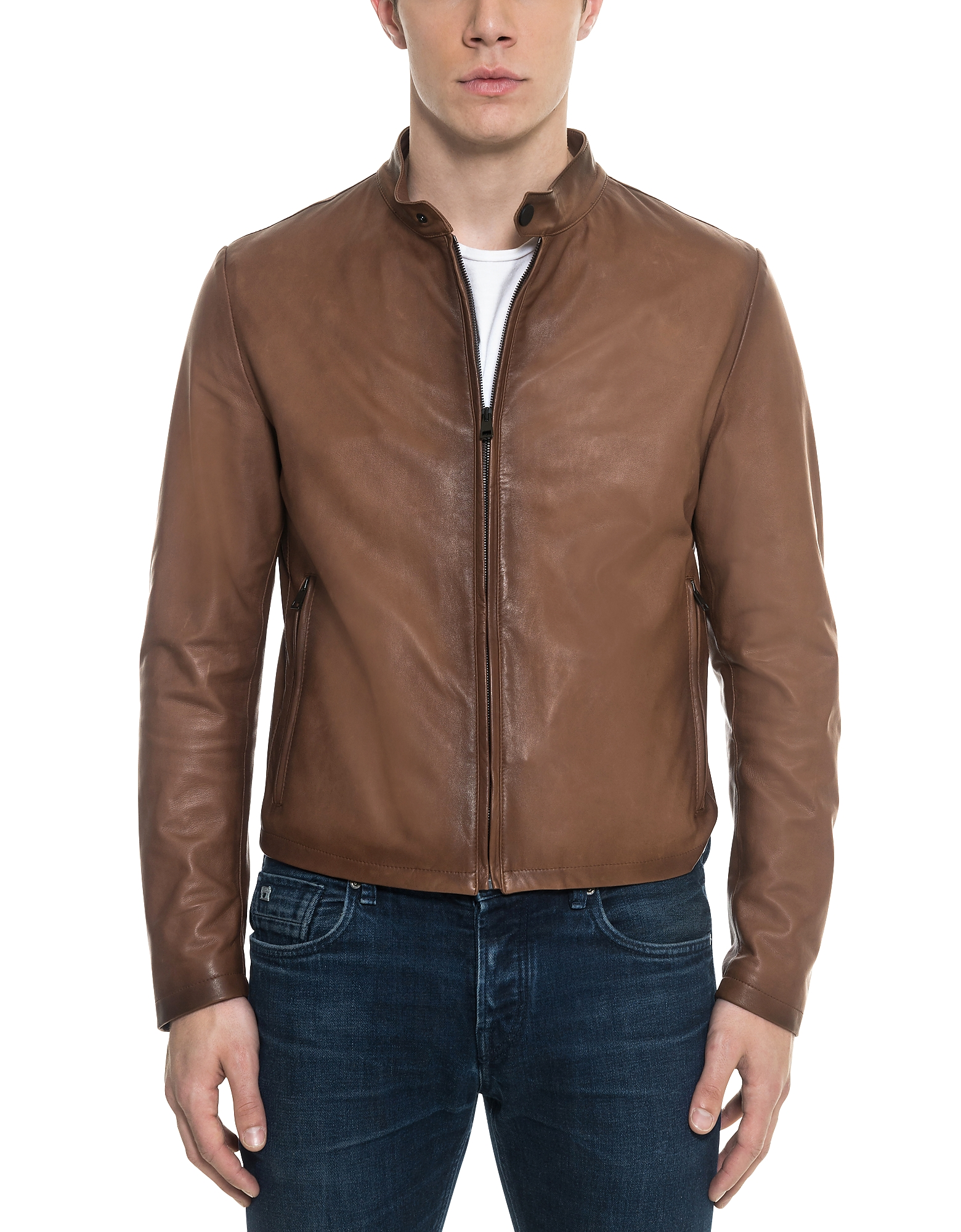 Forzieri Leather Jackets, Brown Leather Men's Biker Jacket