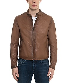 Brown Leather Men's Biker Jacket - Forzieri