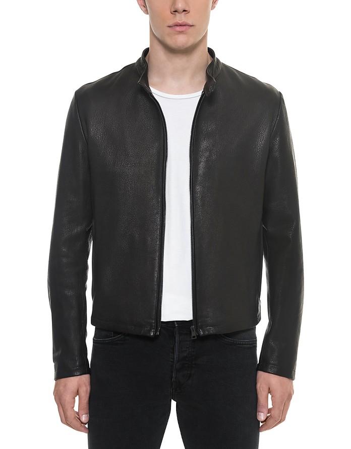 Forzieri Black Leather Men's Biker Jacket