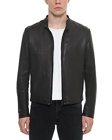 Black Leather Men's Biker Jacket - Forzieri