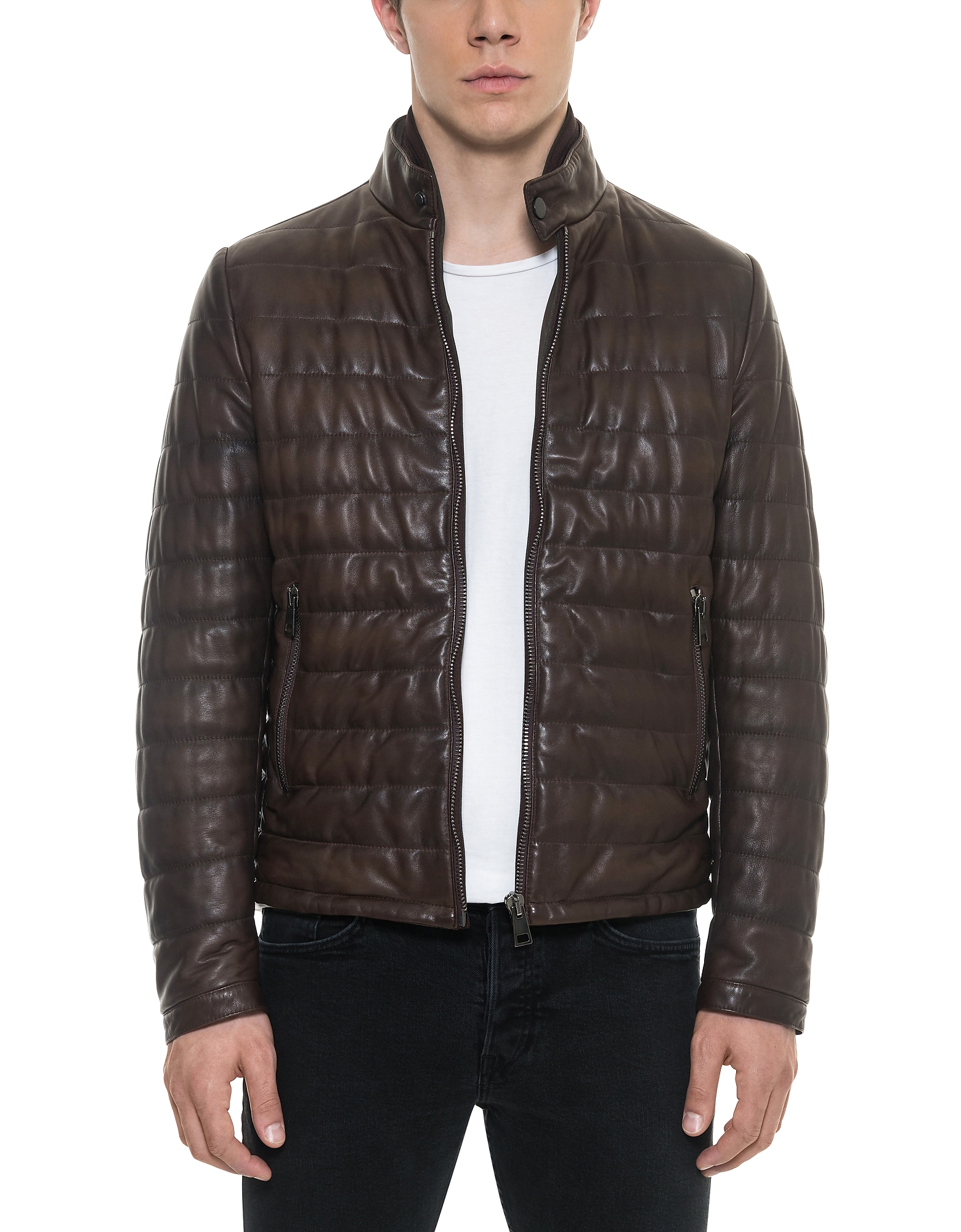 Forzieri Leather Jackets, Dark Brown Quilted Leather Men's Jacket