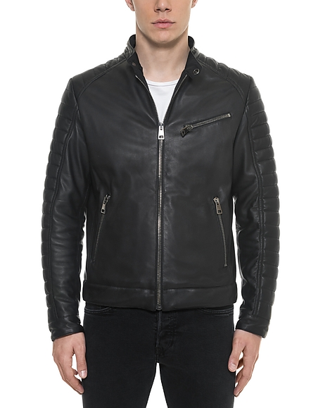 Forzieri Black Padded Leather Mens Biker Jacket