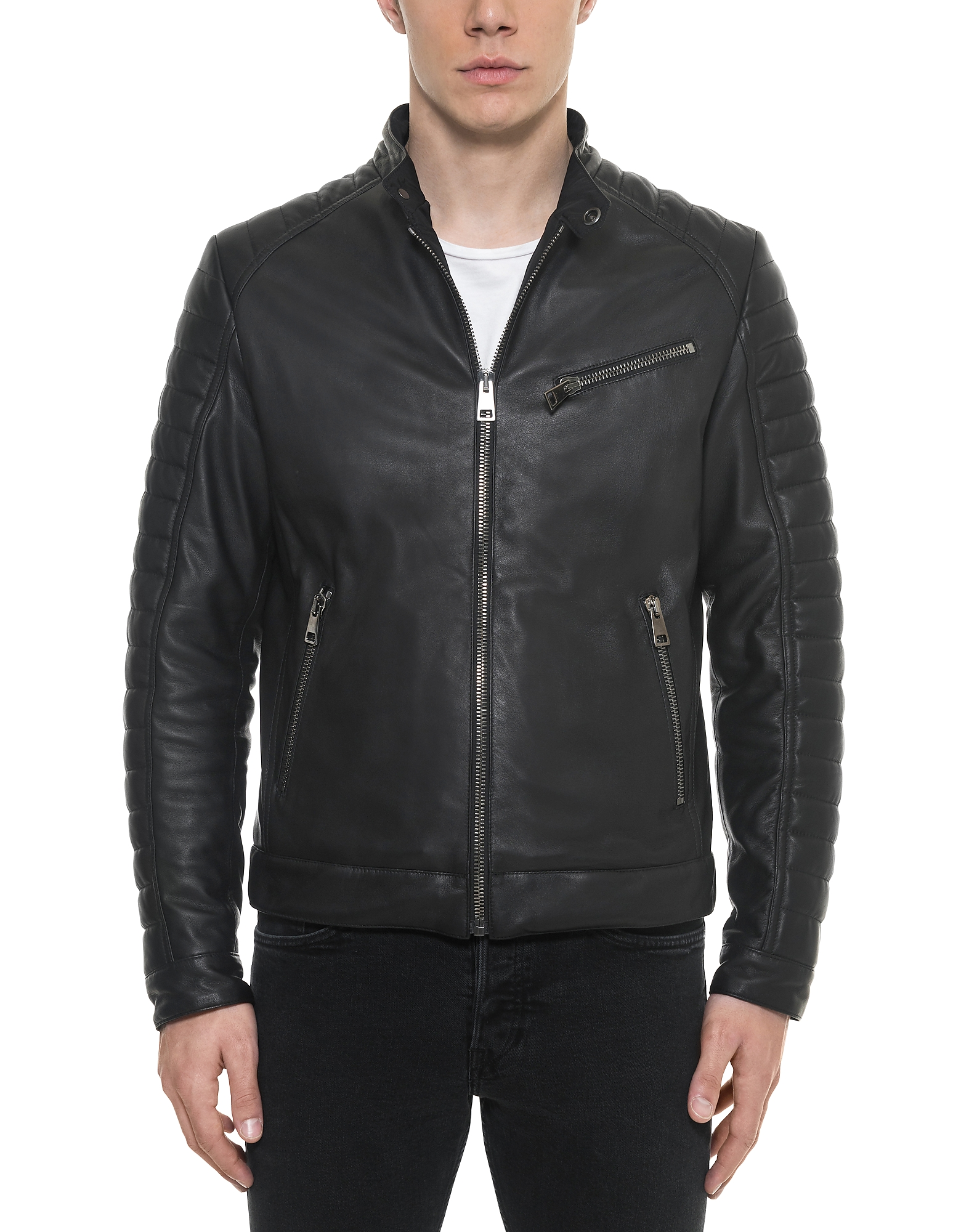 Forzieri Leather Jackets, Black Padded Leather Men's Biker Jacket