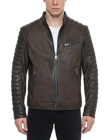 Forzieri - Dark Brown Padded Leather Men's Biker Jacket