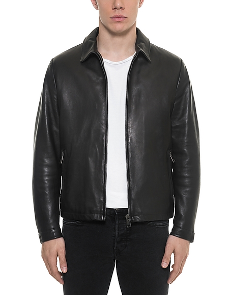 Forzieri Black Padded Leather Mens Zippered Jacket