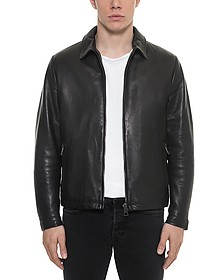 Black Padded Leather Men's Zippered Jacket - Forzieri