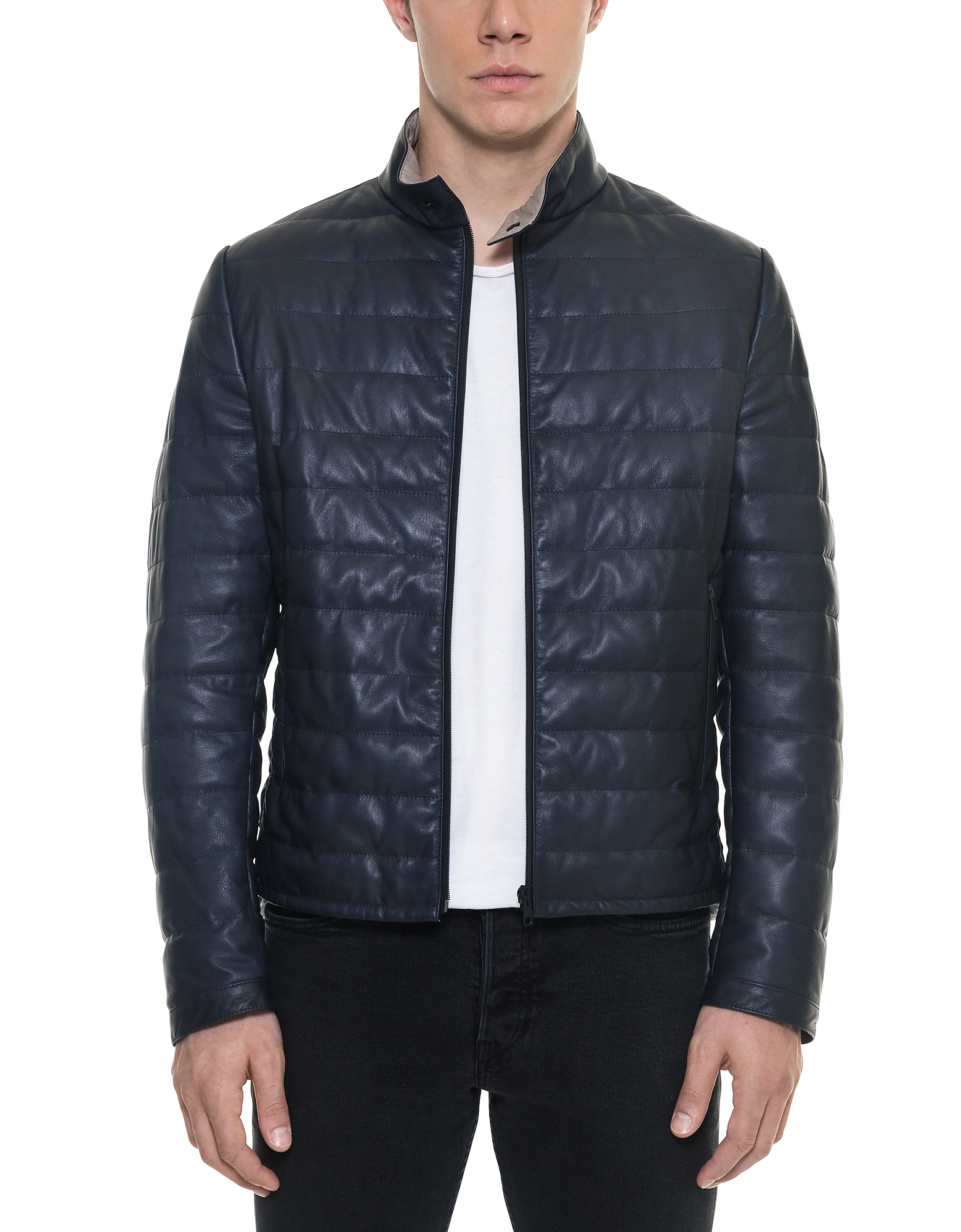 Image of Forzieri Designer Leather Jackets, Dark Blue Quilted Leather Men's Jacket