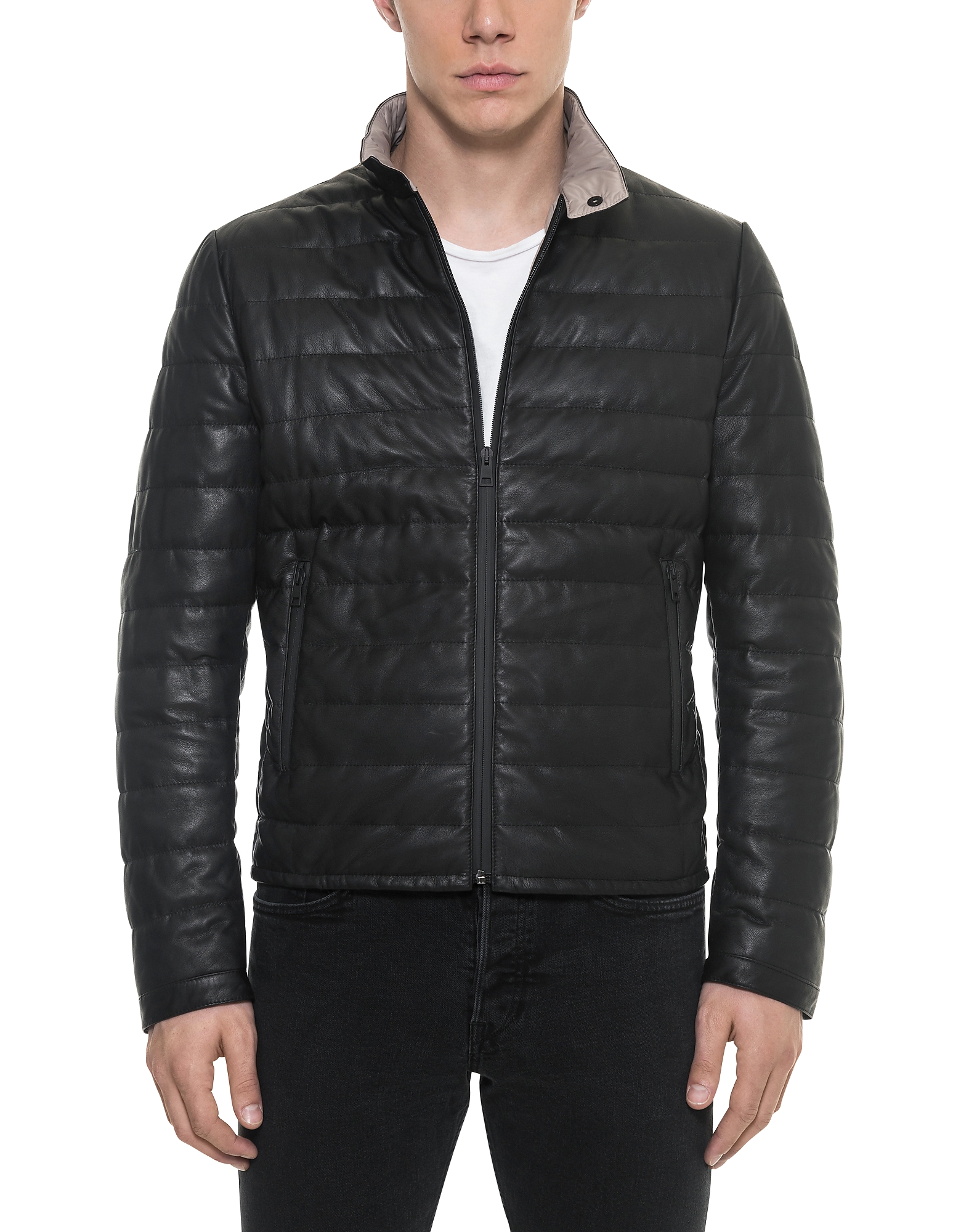 Forzieri Leather Jackets, Black Quilted Leather Men's Jacket