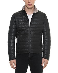 Black Quilted Leather Men's Jacket - Forzieri