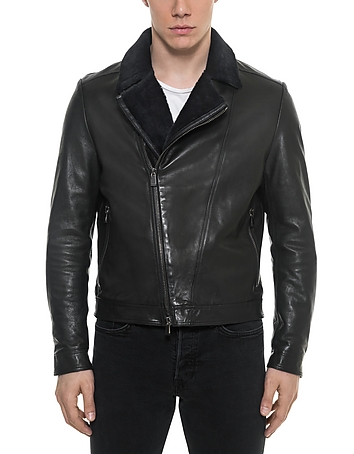 Forzieri - Black Padded Leather and Shearling Men's