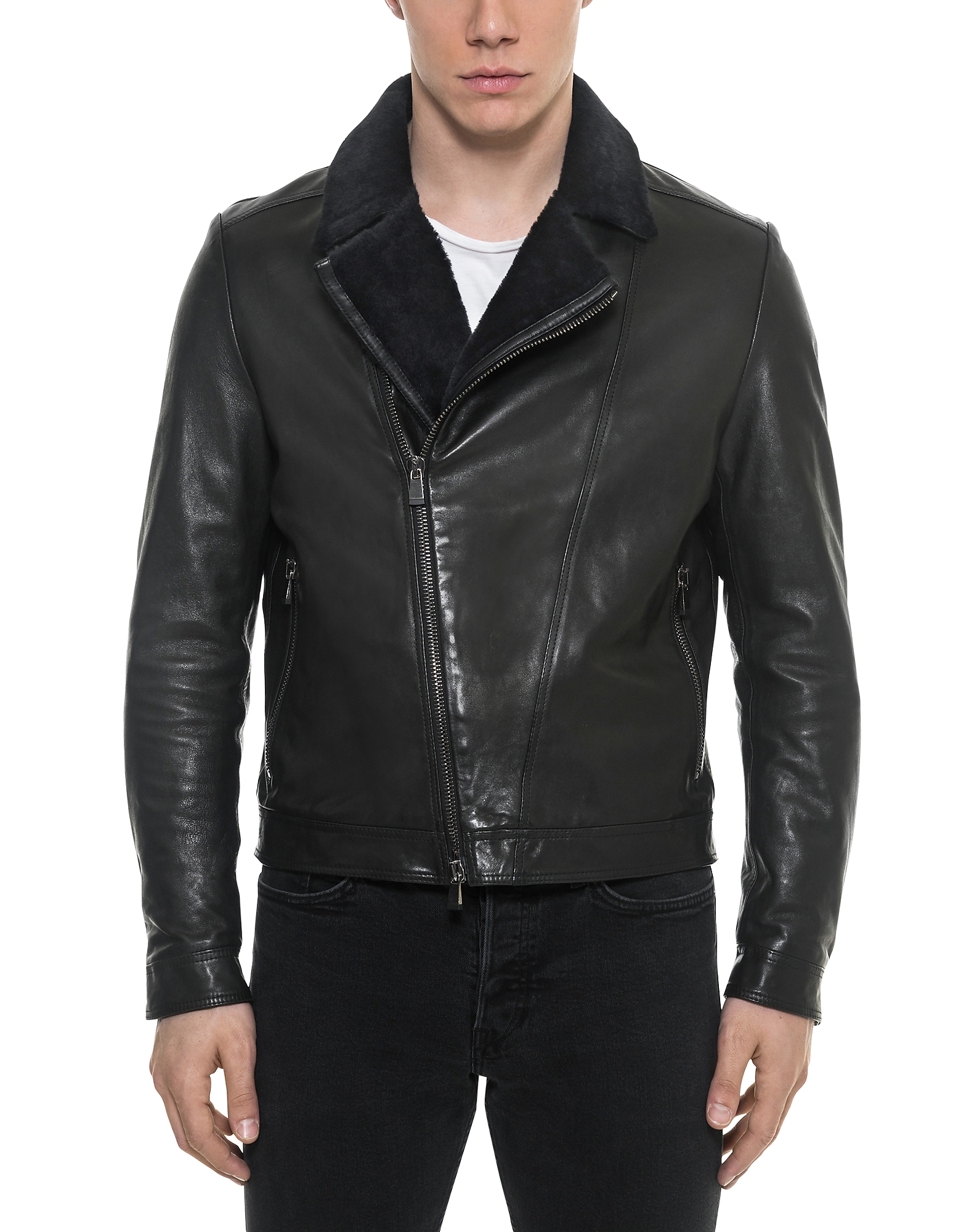 Forzieri Leather Jackets, Black Padded Leather and Shearling Men's Biker Jacket