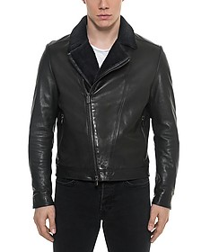 Black Padded Leather and Shearling Men's Biker Jacket - Forzieri