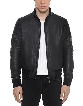 Forzieri - Dark Blue Leather and Nylon Men's Reversible Jacket